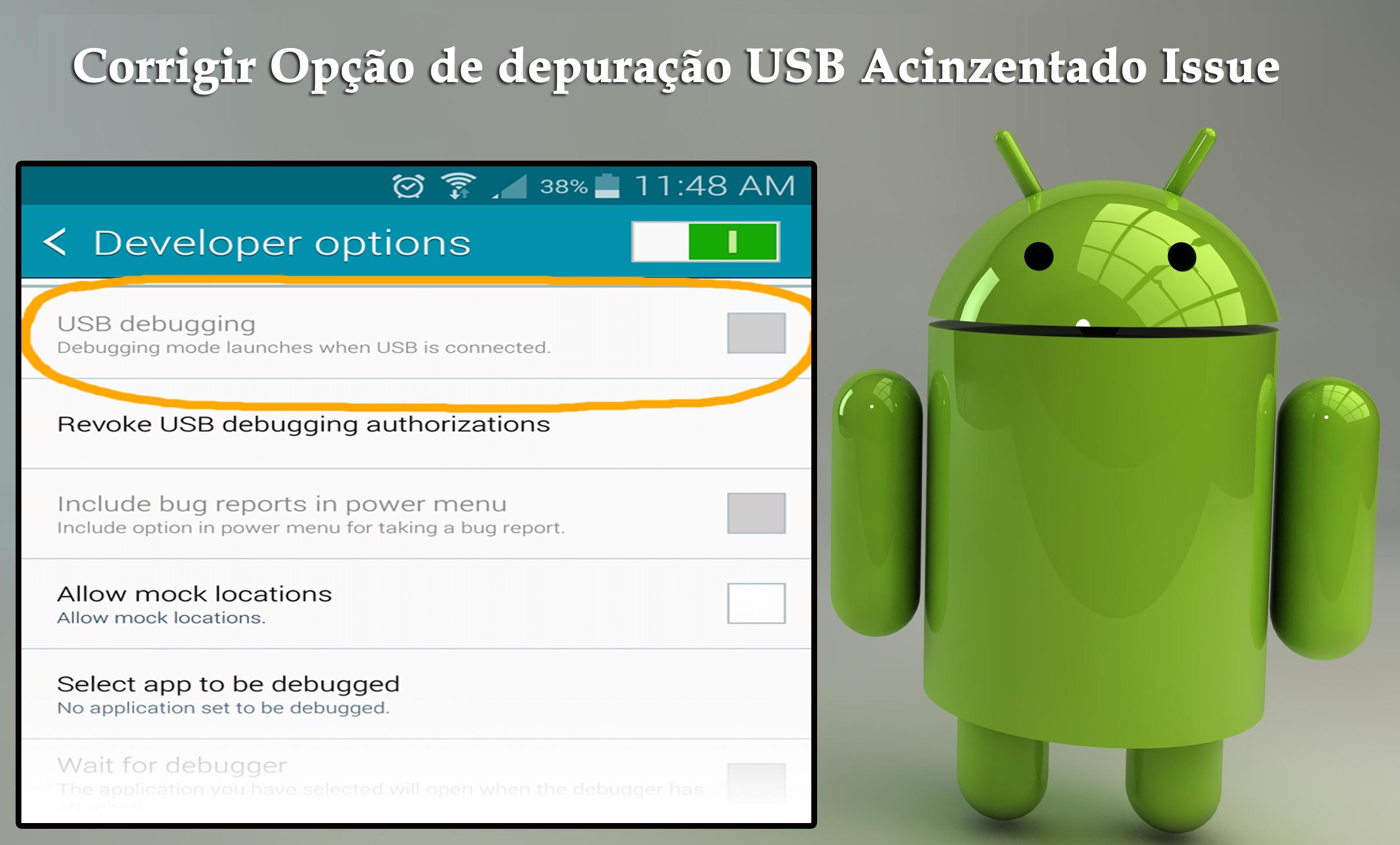 corrigir Opção de depuração USB Acinzentado Issue