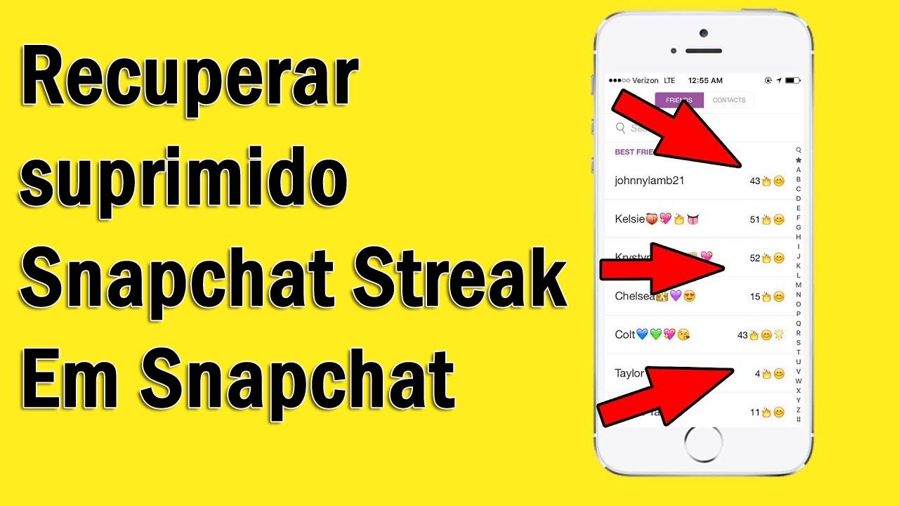 recuperar suprimido Snapchat Streak Em Snapchat