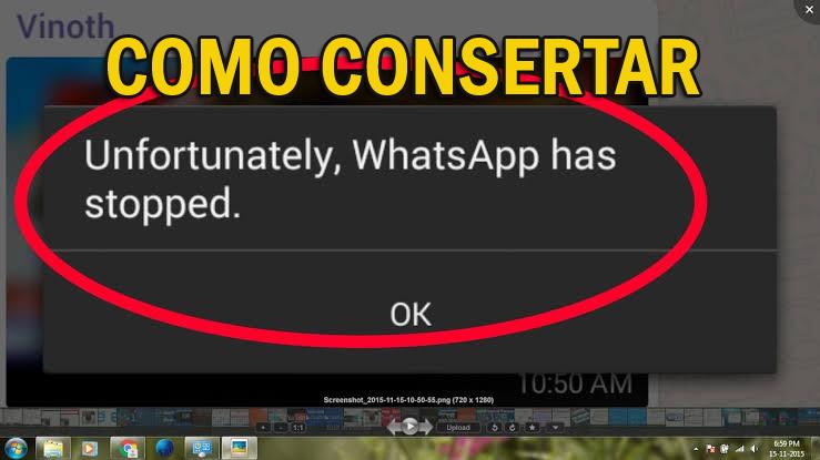 "corrigir o erro ""Infelizmente, o WhatsApp parou"" no Android"