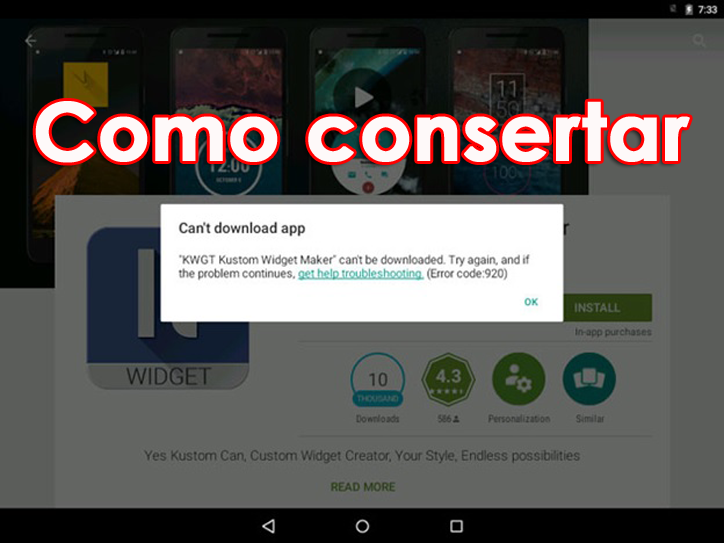 corrigir o erro 920 na Google Play Store