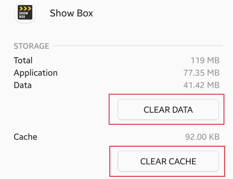 Data CleareClear Cachebotão