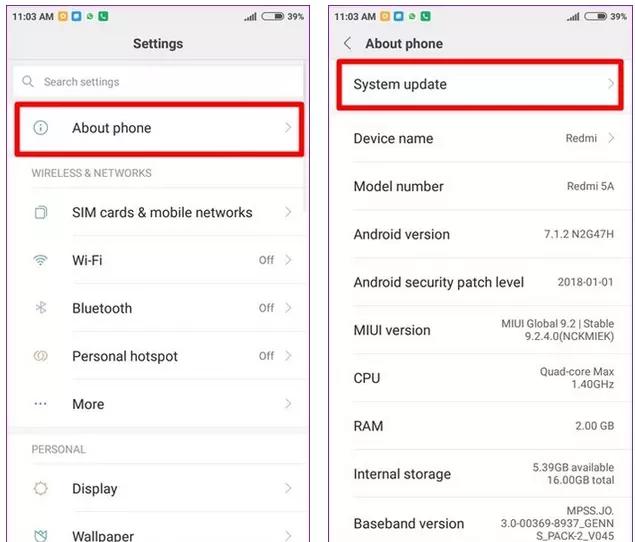 verifique se há atualização do sistema operacional Android